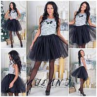Платье короткое из гипюра с фатиновой юбкой черной