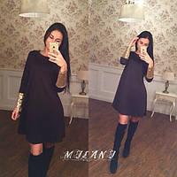 Платье трикотажное с пайетками на манжетах черное