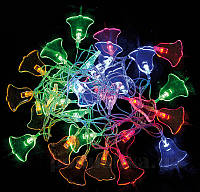 """Электрогирлянда светодиодная """"Колокольчик"""", 30 ламп, многоцв., 3м., прозр.пров, 8 реж.миг."""