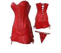 Красный кожаный корсет с юбкой