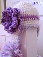 Вязанная тёплая шапочка с цветком для девочки  1-4 года