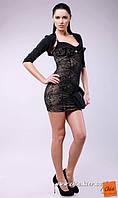 Красивое утягивающее мини платье  +болеро, полиит