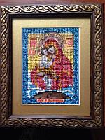 Икона ручной работы из бисера Божьей Матери «Почаевская»