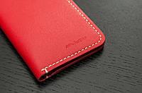 Женское портмоне из красной кожи ручной работы