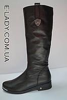 Весенние женские сапоги из натуральной кожи на невысоком каблуке