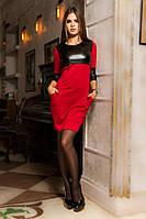 Короткое женское платье со вставками экокожи