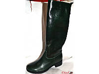 Сапоги-труба стильные кожаные зимние темно-изумрудного цвета Uk0146