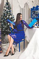 Платье коктейльное синее Кружевное миди