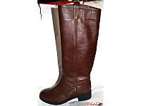 Сапоги-труба стильные кожаные зимние коричневого цвета Uk0147