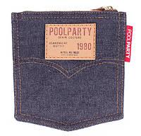 Модная джинсовая косметичка женская POOLPARTY Pocket cosmetic-pocket-jeans синяя
