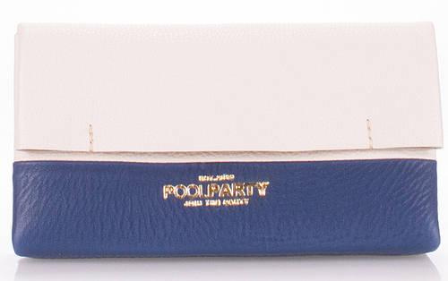 Стильная женская косметичка-клатч из натуральной кожи POOLPARTY 2NITE 2nite-white-sky синяя