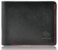 Мужской кошелек кожаный Grande Pelle на магните черный с красным