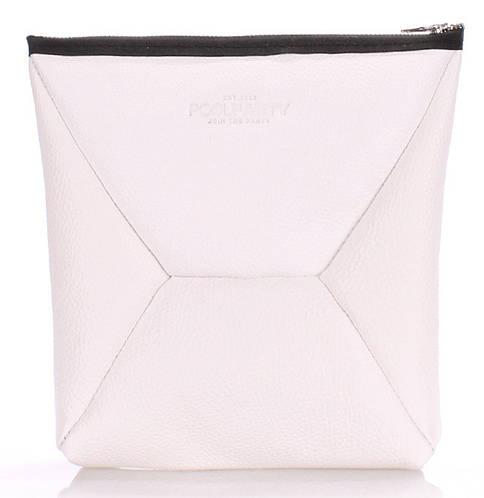 Стильная косметичка-клатч женская из натуральной кожи POOLPARTY THE X the-x-white белая