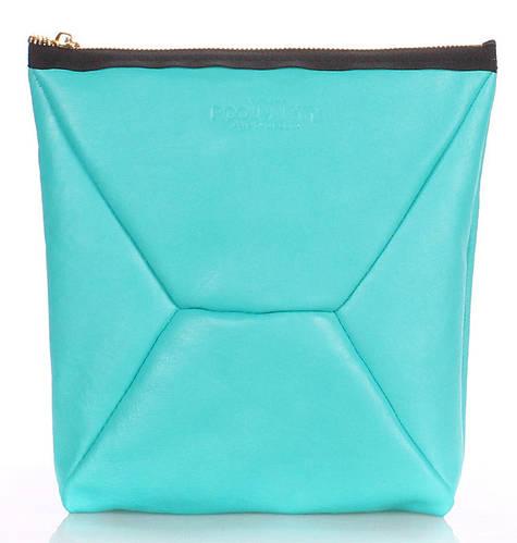 Яркая косметичка-клатч женская из натуральной кожи POOLPARTY THE X the-x-blue бирюзовая