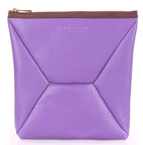 Женская косметичка-клатч из натуральной кожи POOLPARTY THE X the-x-violet фиолетовая
