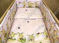 Защита бортик в детскую кроватку для новорожденных (пчелка розовый)