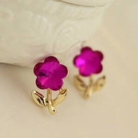 Серьги Цветочки розовые