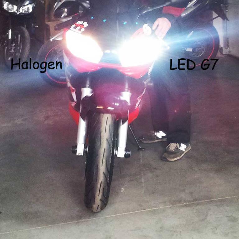 Установка светодиодных ламп в головной свет в мотоцикл Yamaxa R6