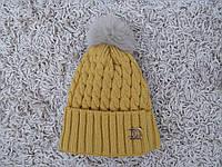 Шапка зимняя 091 горчица , фото 1