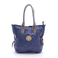 Современная женская сумка 278 «брошка» синяя эко-кожа