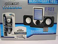 Набор для бритья Schick Quattro Titanium (Шик Квадро Титаниум станок + 6 катриджей + колонки для плеера)