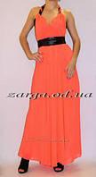 Яркий оранжевый летний сарафан в пол