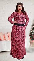 Роскошное женское платье в пол с цветочным принтом рукав длинный французский трикотаж батал