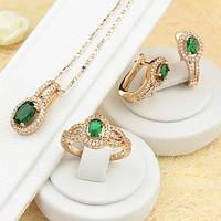 Позолоченый комплект с изумрудно-зелёными и прозрачными фианитами, кольцо 17 р.