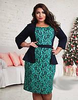 Оригинальное женское платье с имитацией жакета ниже колен с цветочным принтом трикотаж батал