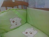 Детские постельные комплекты с вышивкой. Комплект с защитой. Постельные в кроватку для новорожденных