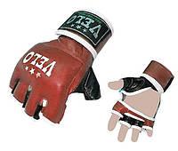 Перчатки без пальцев кожаные для смешанных единоборств MMA VELO (красные)