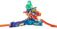 Hot Wheels мега трек Научная лаборатория Взрыв цветов+ очистительная машина + 3 машинки из серии измени цвет.