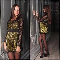 Платье гипюровое мини желтое  с черным