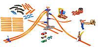 Большой мега трек Хот Вилс Башня гонок +3 трек набора+6 машинок в комплекте. Hot Wheels соедини все треки.