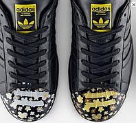 Кроссовки черные женские кожаные Adidas Superstar Pharrell Supershell Black Оригинальные