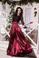 Женское вечернее платье из шелкового атласа и дорогого гипюра
