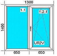 "Окно металлопластиковое ""Империал"" двухстворчатое 1300х1400 мм."