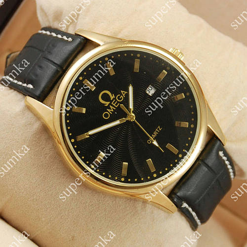 Модные наручные часы Omega Quartz Gold/Black 1854