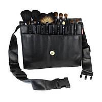 Набор натуральных кистей для макияжа на пояс 18 шт - Make Up Me BELT-18 Черный