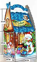 """Новогодняя Упаковка """"Хатинка Синя Сніговичок"""" 500-700г для подарков"""