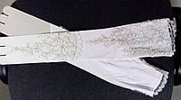 Длинные свадебные перчатки (белые с золотом)