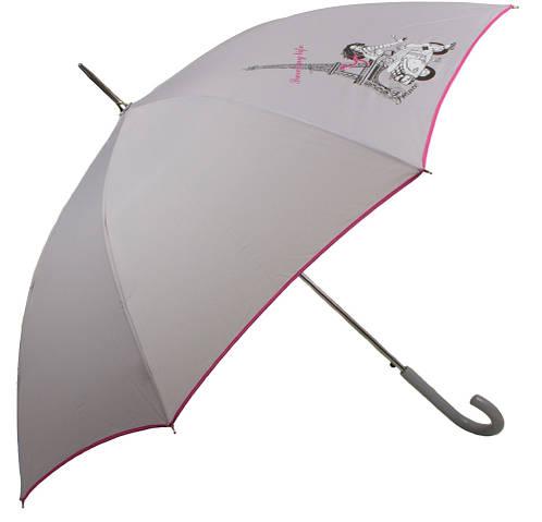 Серый зонт-трость женский полуавтомат AIRTON (АЭРТОН) Z1627-10