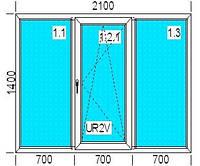 Окно ПВХ (металлопластиковое), трехстворчатое 2100х1400 мм.