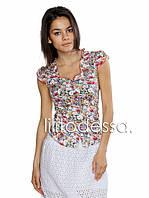 Блуза с цветочным принтом красный до 50р