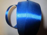 Лента атлас 2,5 см синяя (цвет электрик)