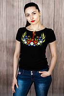 Жіноча вишита футболка. Модель:Вінок з колосками