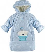 Зимний супер теплый комбинизон-конверт для мальчика из плащевки на овчине с капюшоном, с чудесным декором