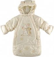 Зимний супер теплый комбинизон-конверт для девочки из плащевки на овчине с капюшоном, с чудесным декором