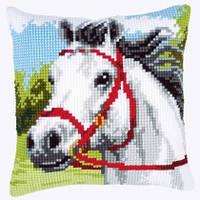"""Набор для вышивки крестом """"Подушка """"Лошадь с красной уздечкой"""""""