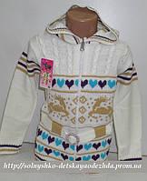 Свитер белый детский на девочку (с сердечками)